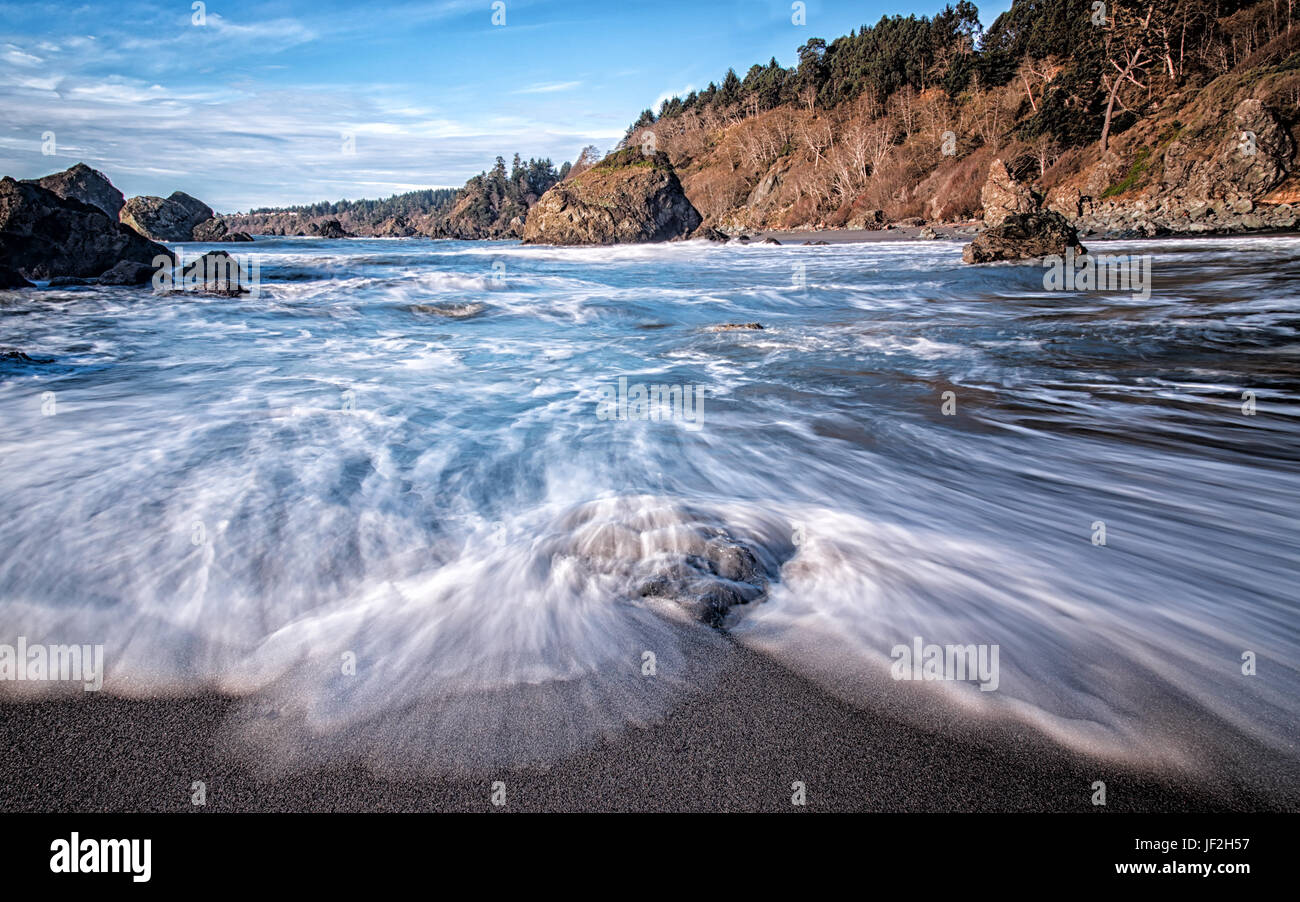 Beautiful Beach with Ocean Waves Stock Photo