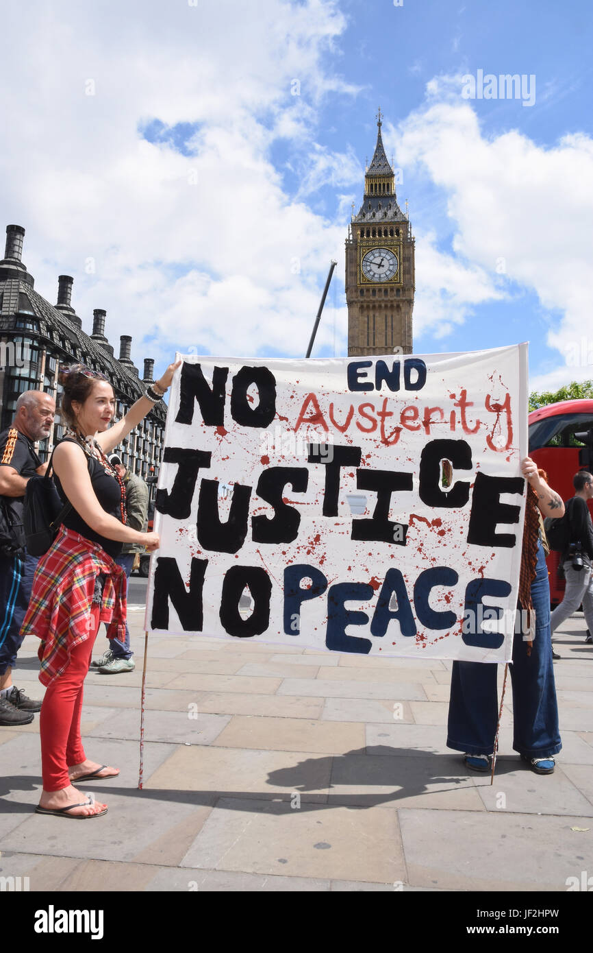 Women's March on Downing Street Against The DUP procession,Parliament Square,London UK 24.06.17 - Stock Image