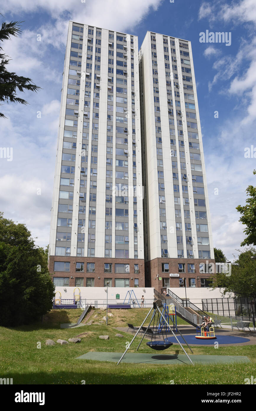 Tower Blocks On The Chalcots Estate, were residents faced evacuation following safely concerns after the Grenfell - Stock Image