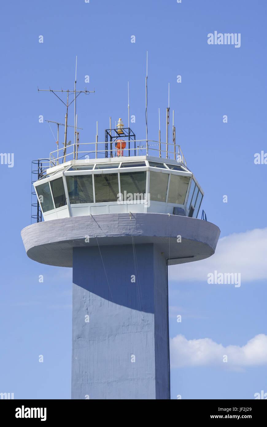 Airport Tower, Korfu, Greece - Stock Image