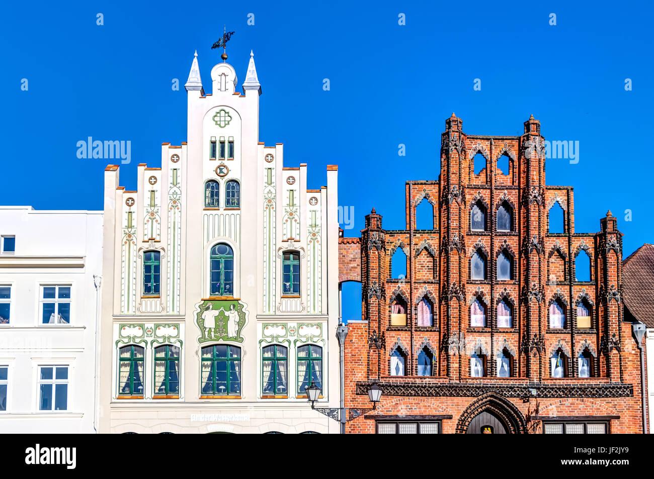 Market in the Hanseatic city Wismar - Stock Image