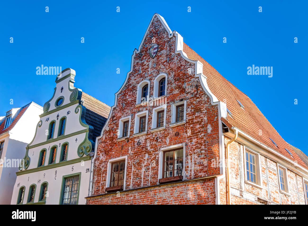 Historic buildings in Wismar Stock Photo