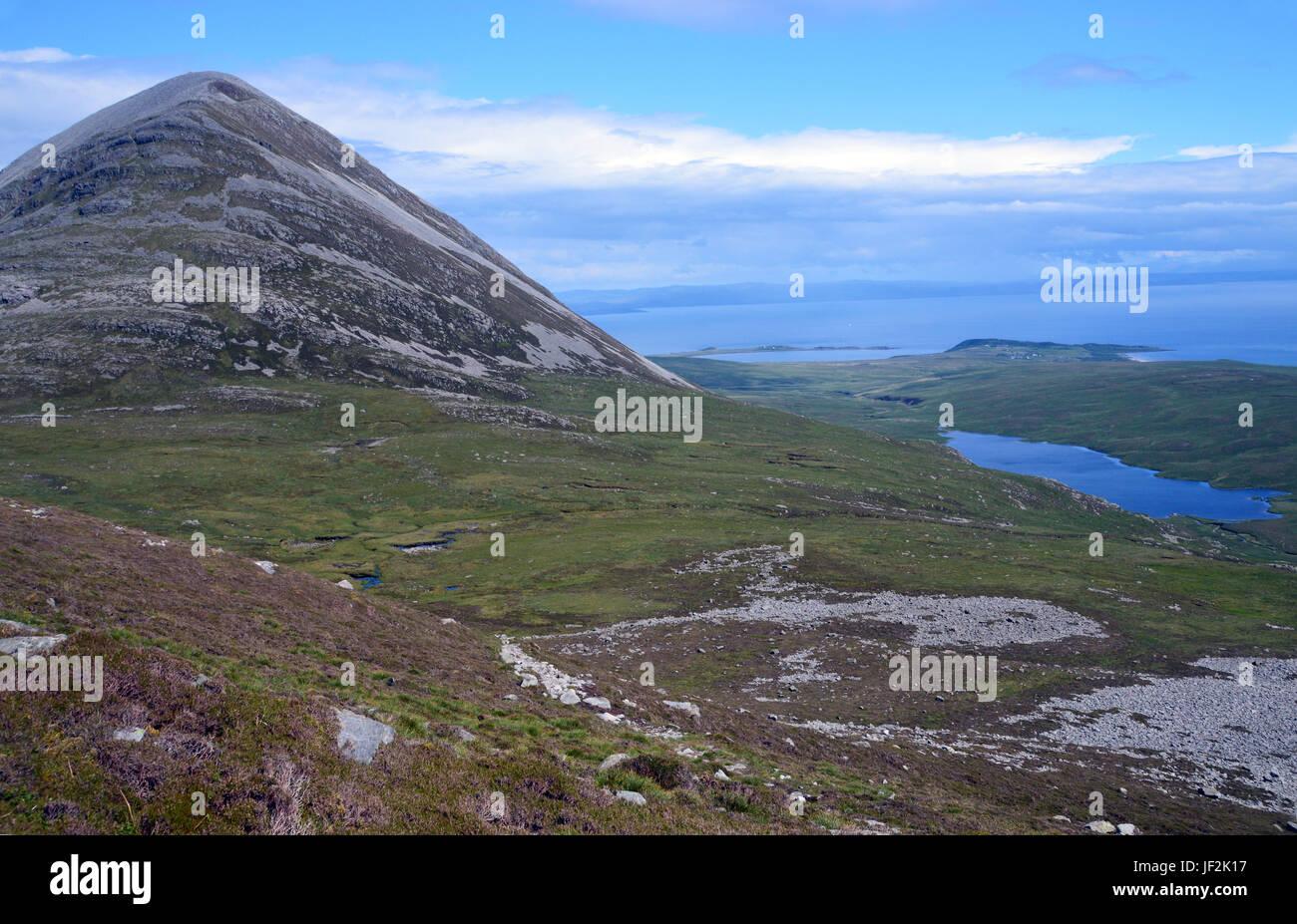 The Western Ridge of the Scottish Mountain Graham Beinn Shiantaidh from the Corbett Beinn an Oir (Paps of Jura) Stock Photo