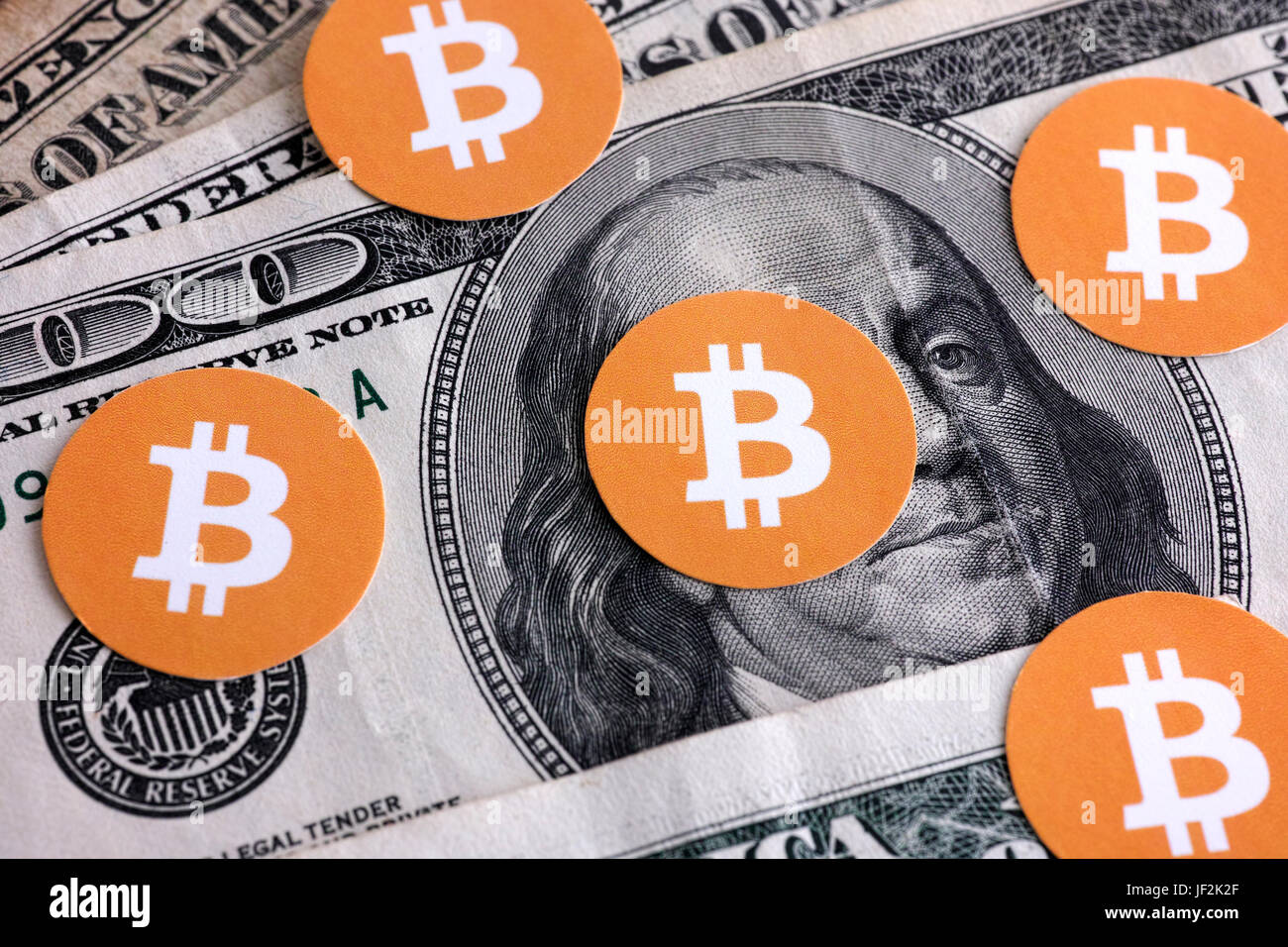 Bitcoin Symbols On Us Dollars Stock Photos Bitcoin Symbols On Us