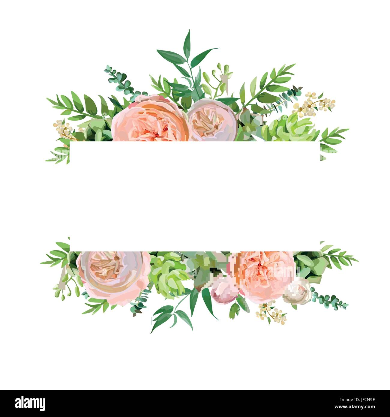 vector floral design horizontal card design soft pink peach english