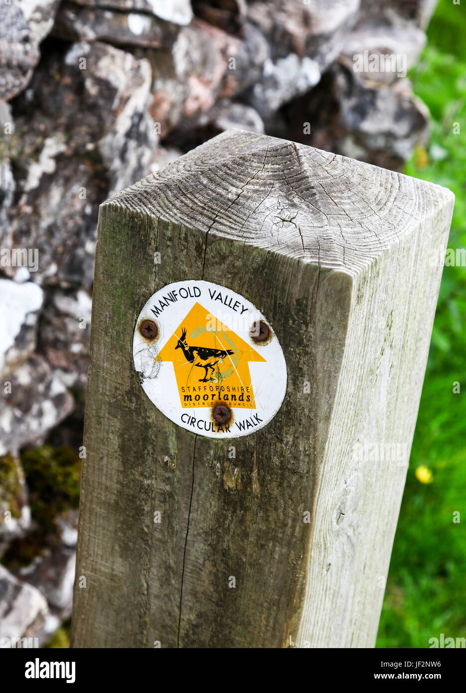 A waymarker on a wooden post with a yellow arrow showing the way on the Manifold Valley circular walk Ilam Staffordshire - Stock Image