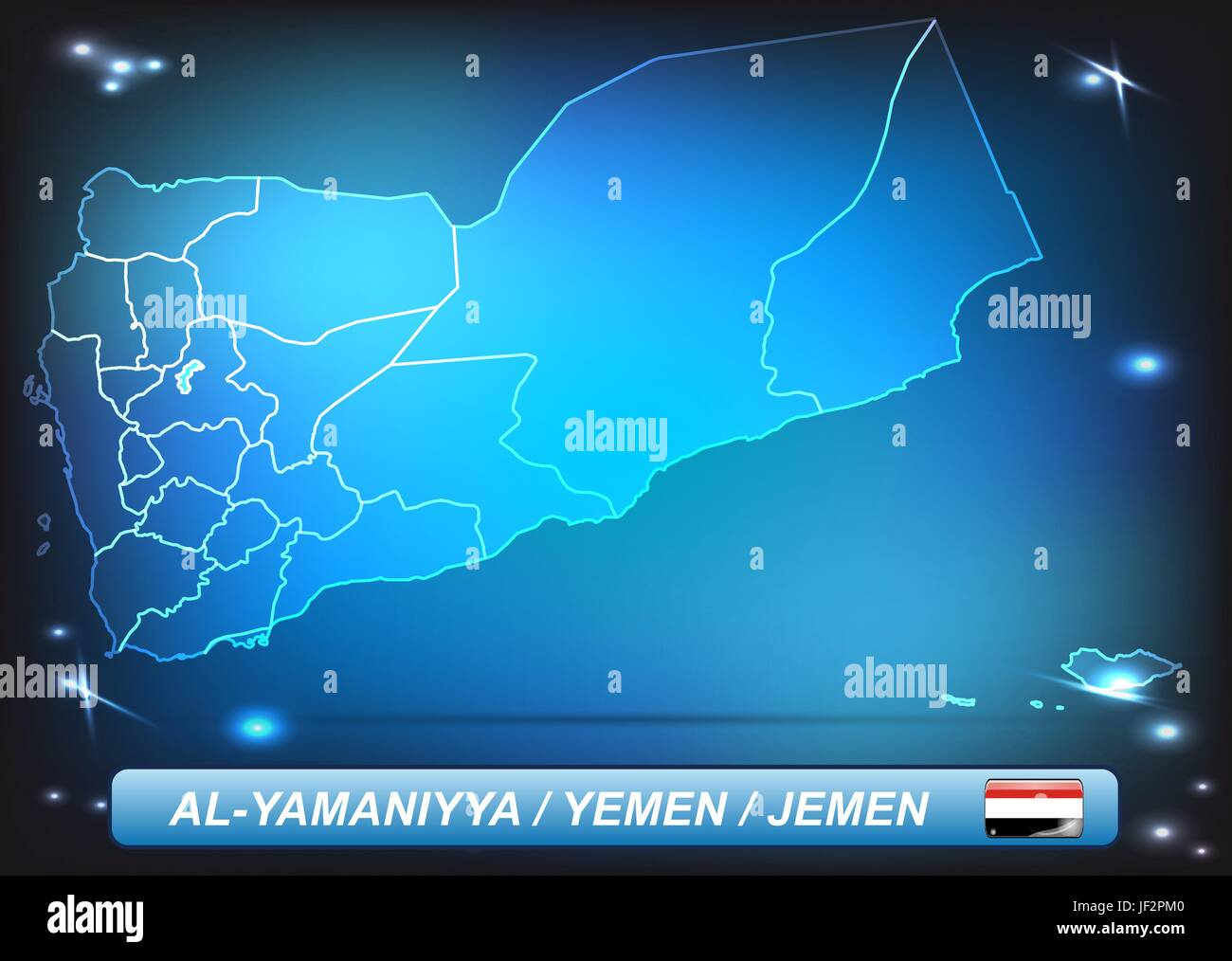 card, yemen, land, realty, ground, atlas, map of the world, map, shine, shines, - Stock Vector