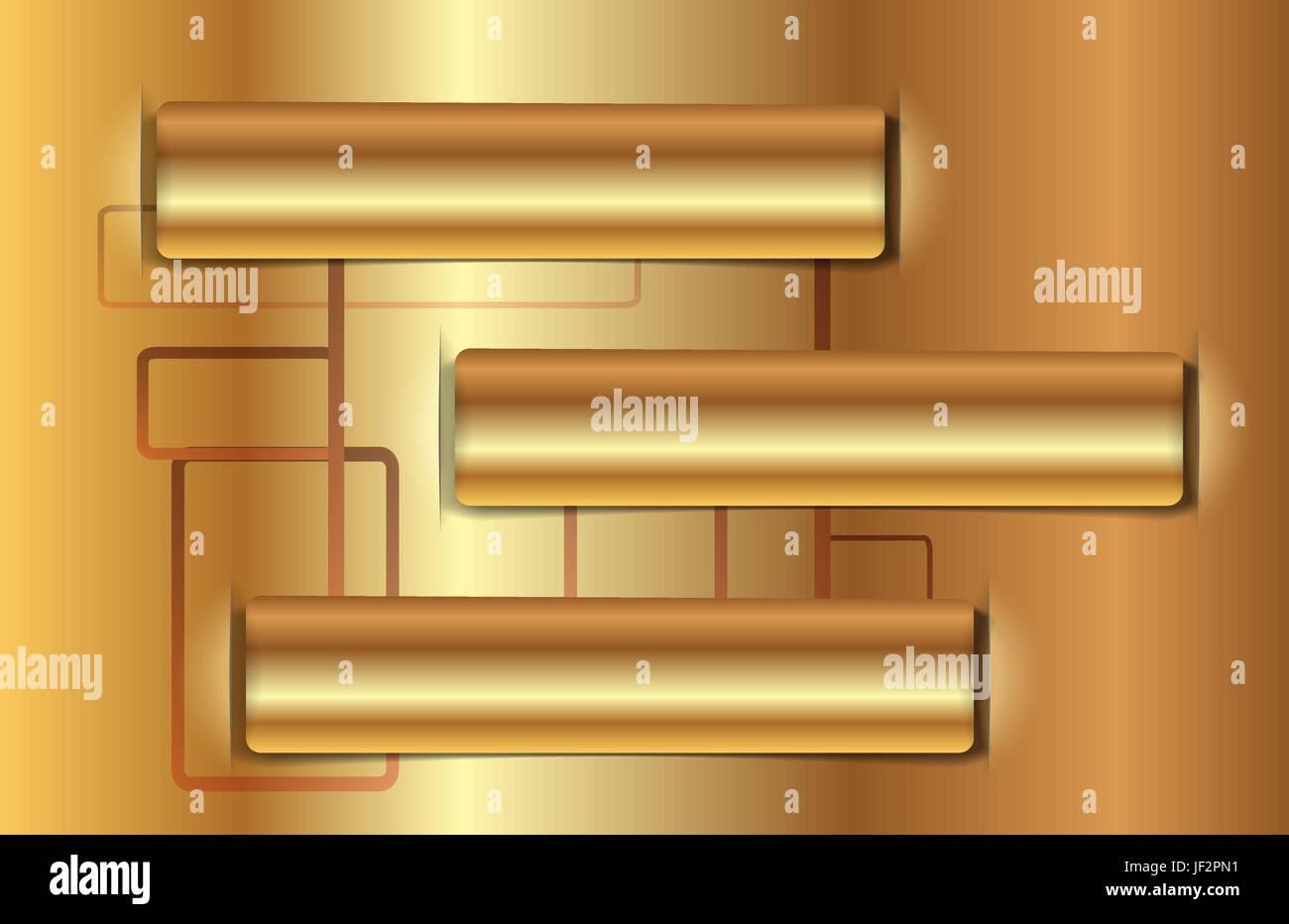 three, gradient, metallic, label, shaddow, shadow, gold, three, gradient, - Stock Vector
