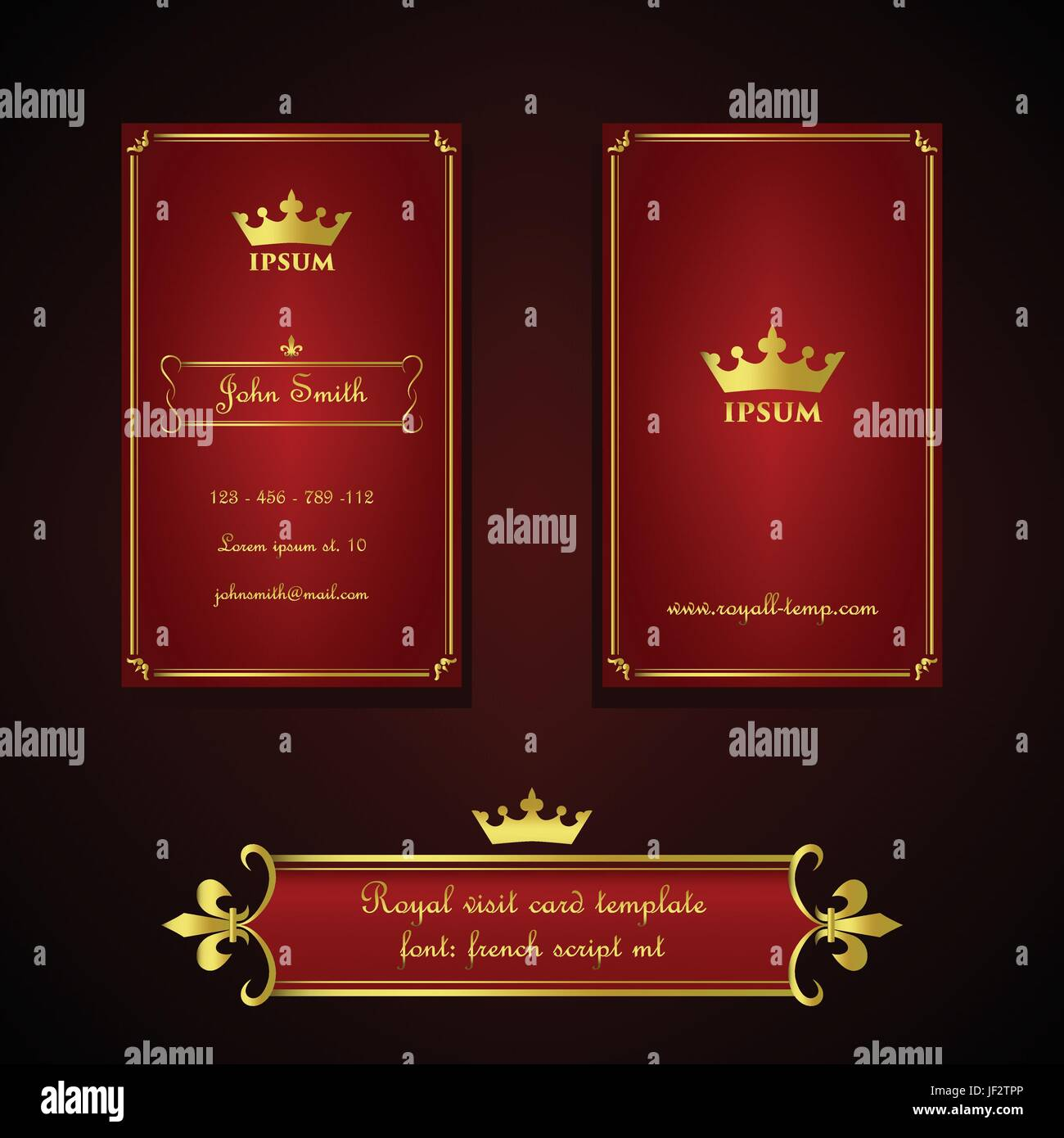 golden, decorative, sophisticated, business card, red, royal, crown ...