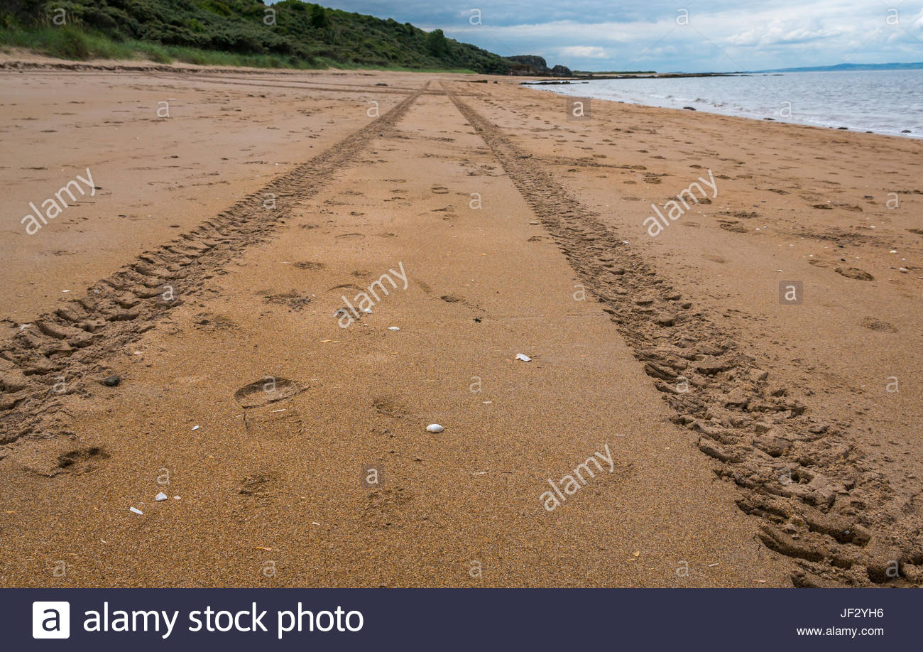 Tyre tracks leading into the distance on a deserted beach, Gullane, East Lothian, Scotland, UK - Stock Image