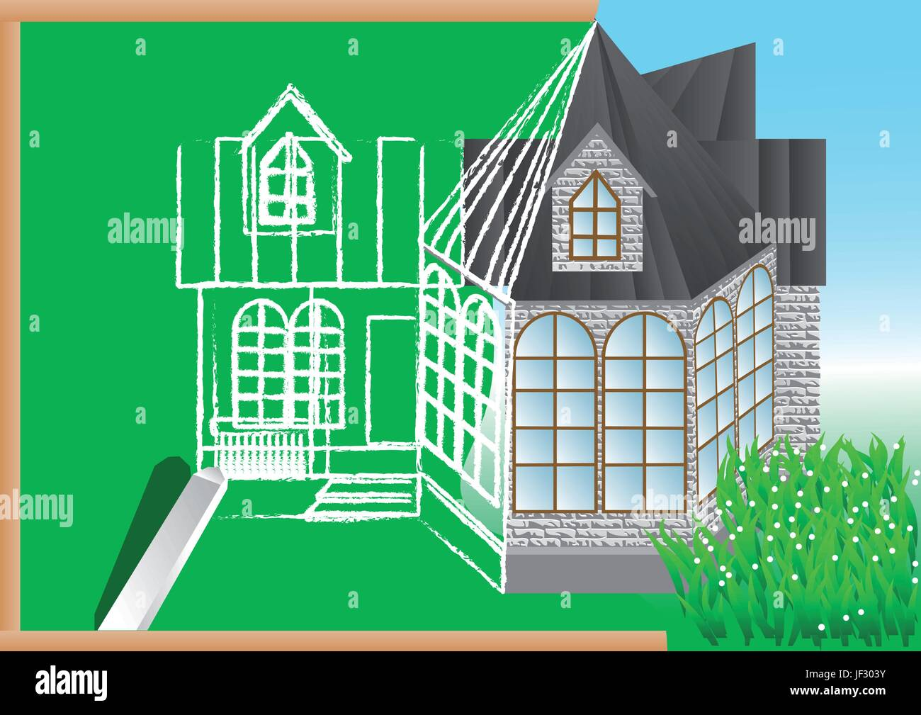 house, building, model, design, project, concept, plan, draft, industry, Stock Vector