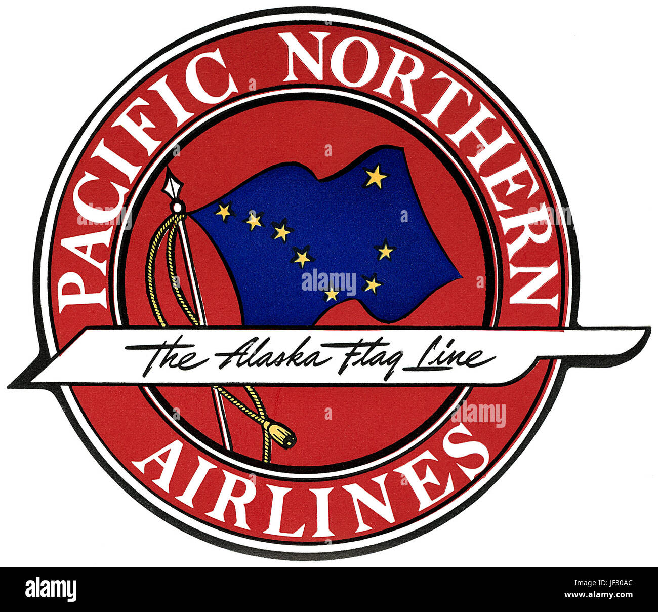 Vintage Pacific Northern Airlines luggage label - 'The Alaska Flag Line.' - Stock Image