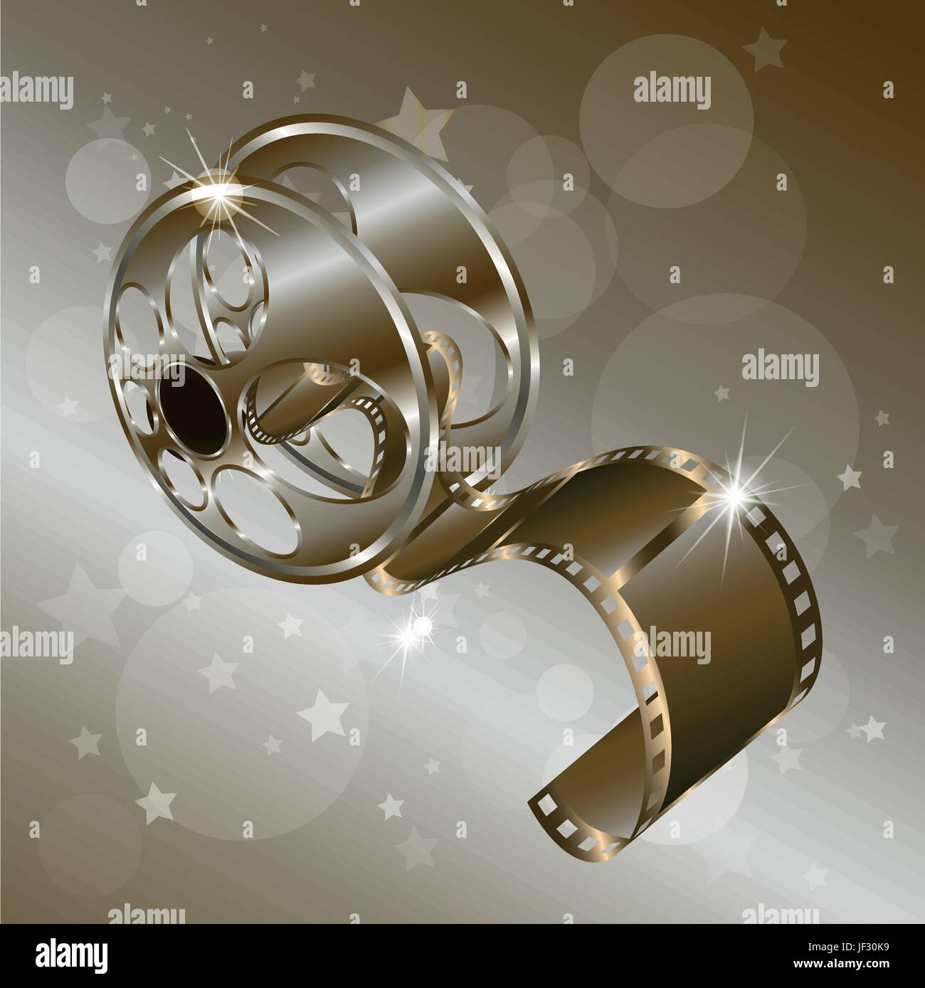 Movie Reel Film Vector Isolated On Gold Background With Stars Stock