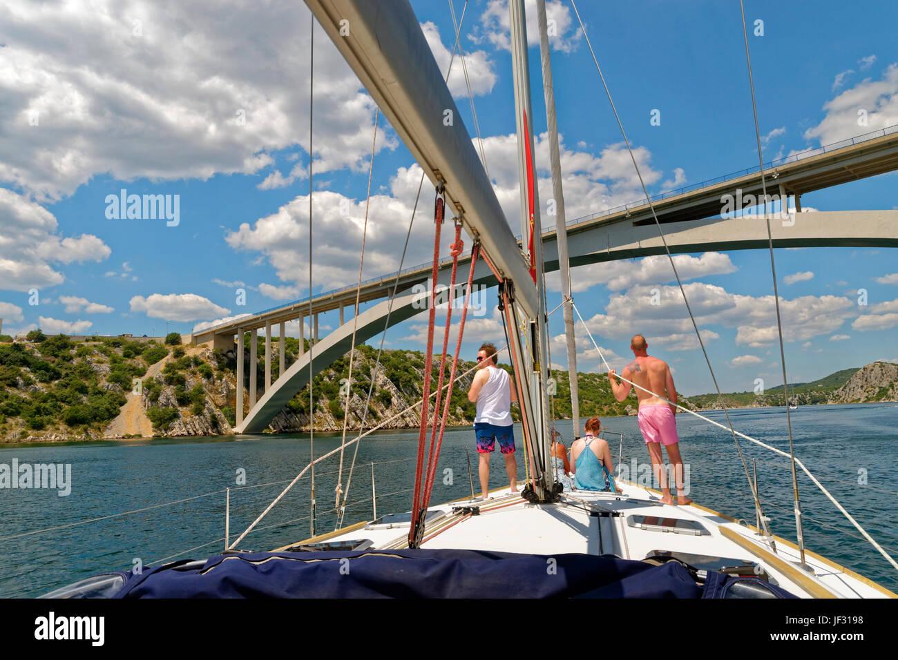 Cruising the Cikola River up to the Krka National Park and waterfalls near Sibenik, Croatia. - Stock Image