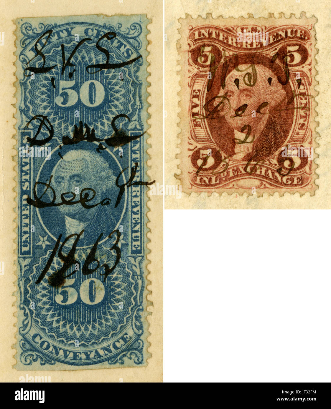 Antique Internal Revenue stamps, canceled in 1863 and 1865. - Stock Image