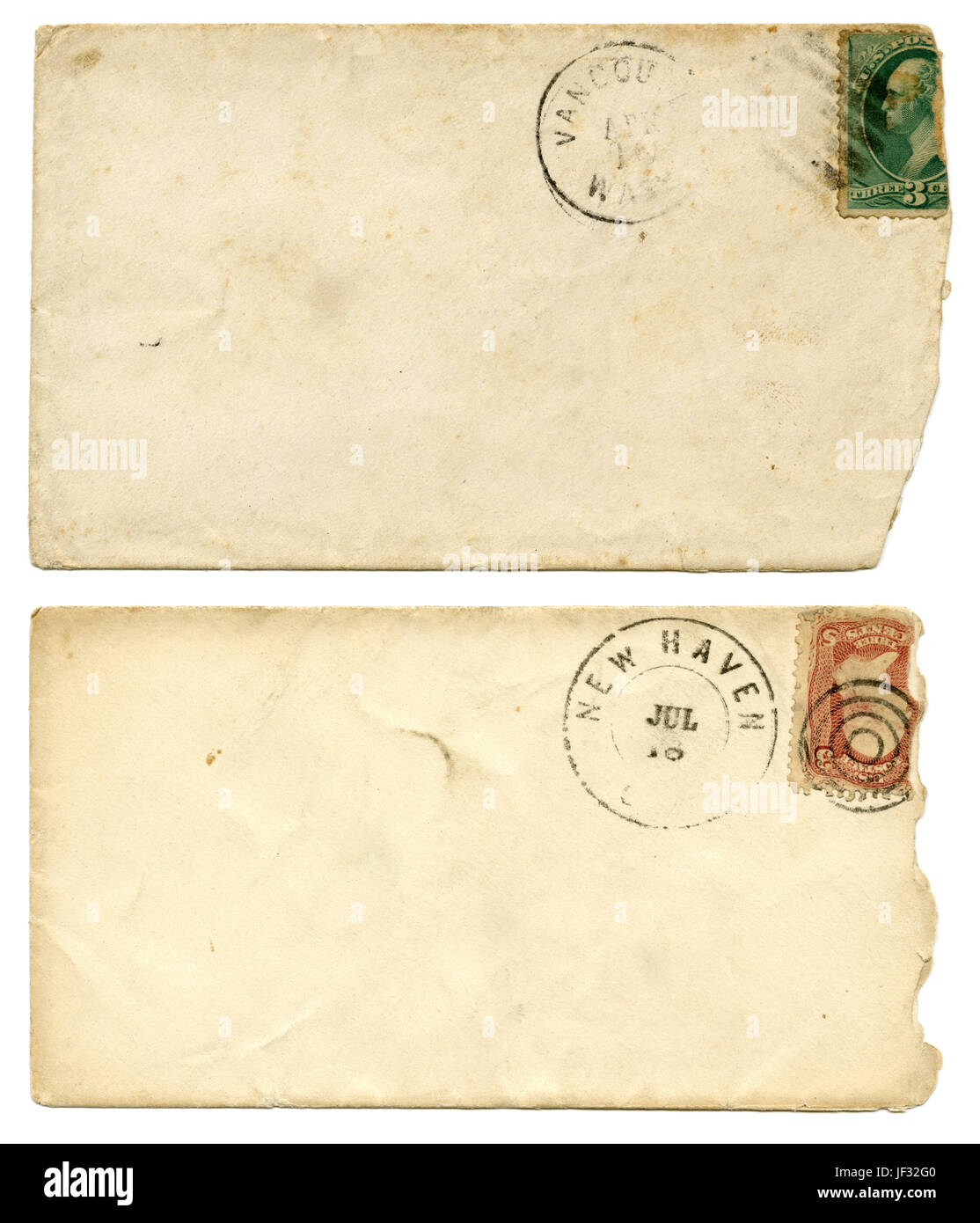 Pair of antique c1880 stamped and canceled envelopes. - Stock Image