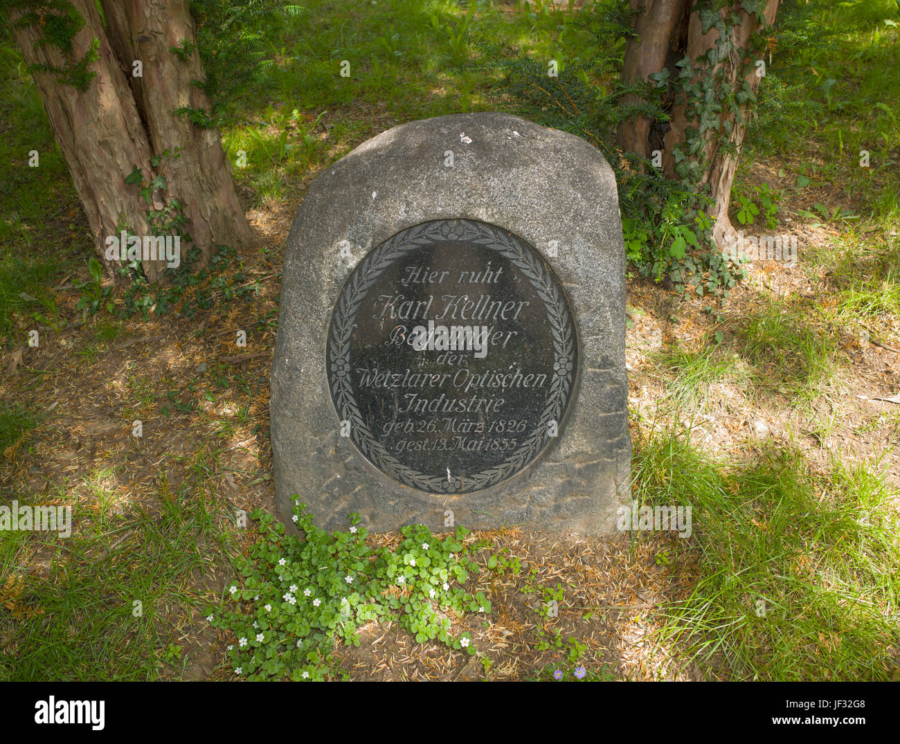 Gravestone of Karl Kellner, Wetzlar, Germany - Stock Image