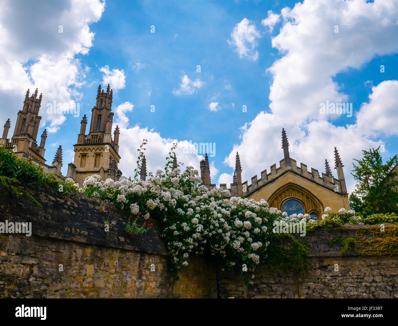 All Souls College from Queens Lane, Oxford, Oxfordshire, England - Stock Image
