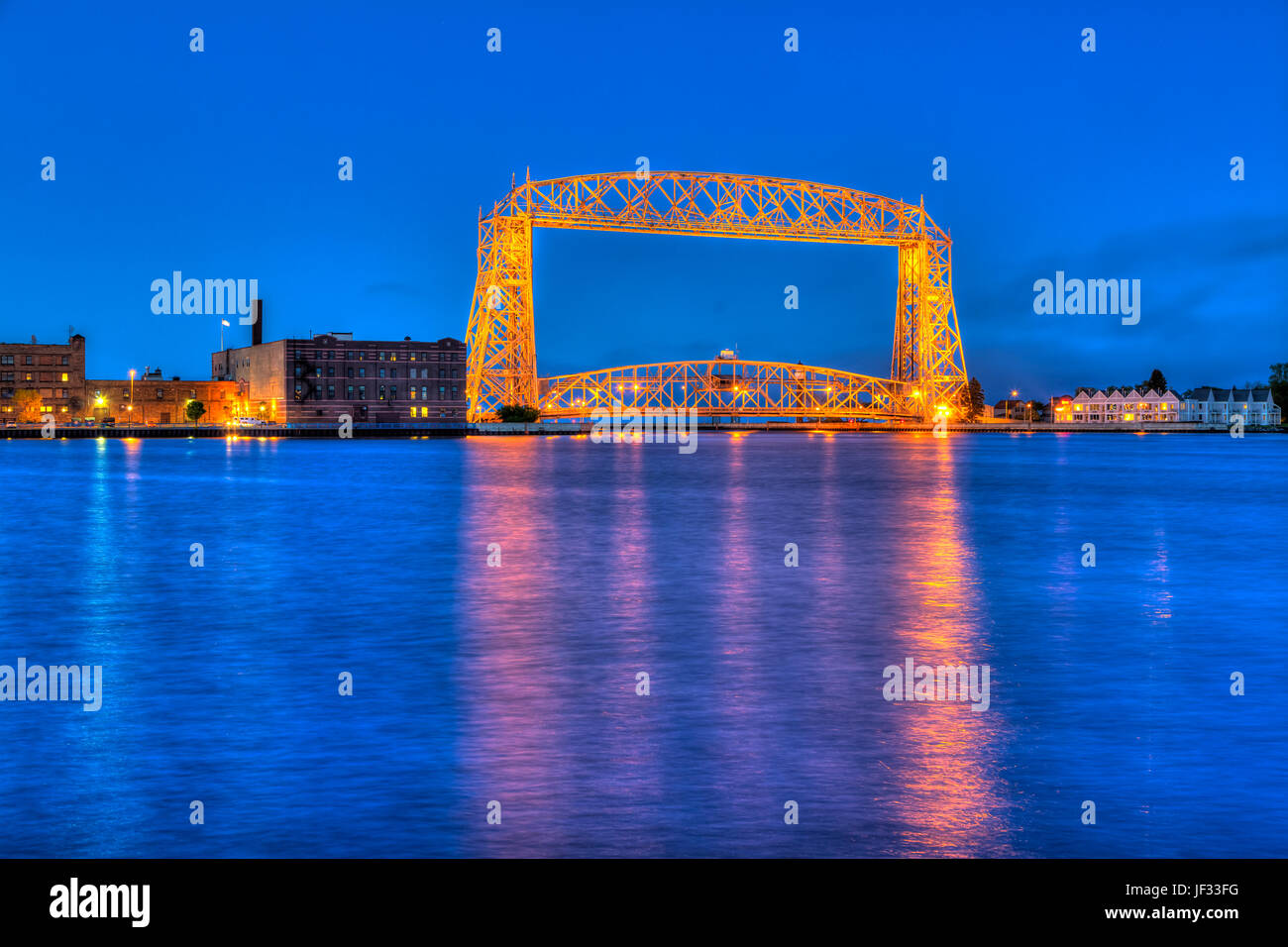 The aerial lift bridge and Canal Park in Duluth, Minnesota, USA - Stock Image