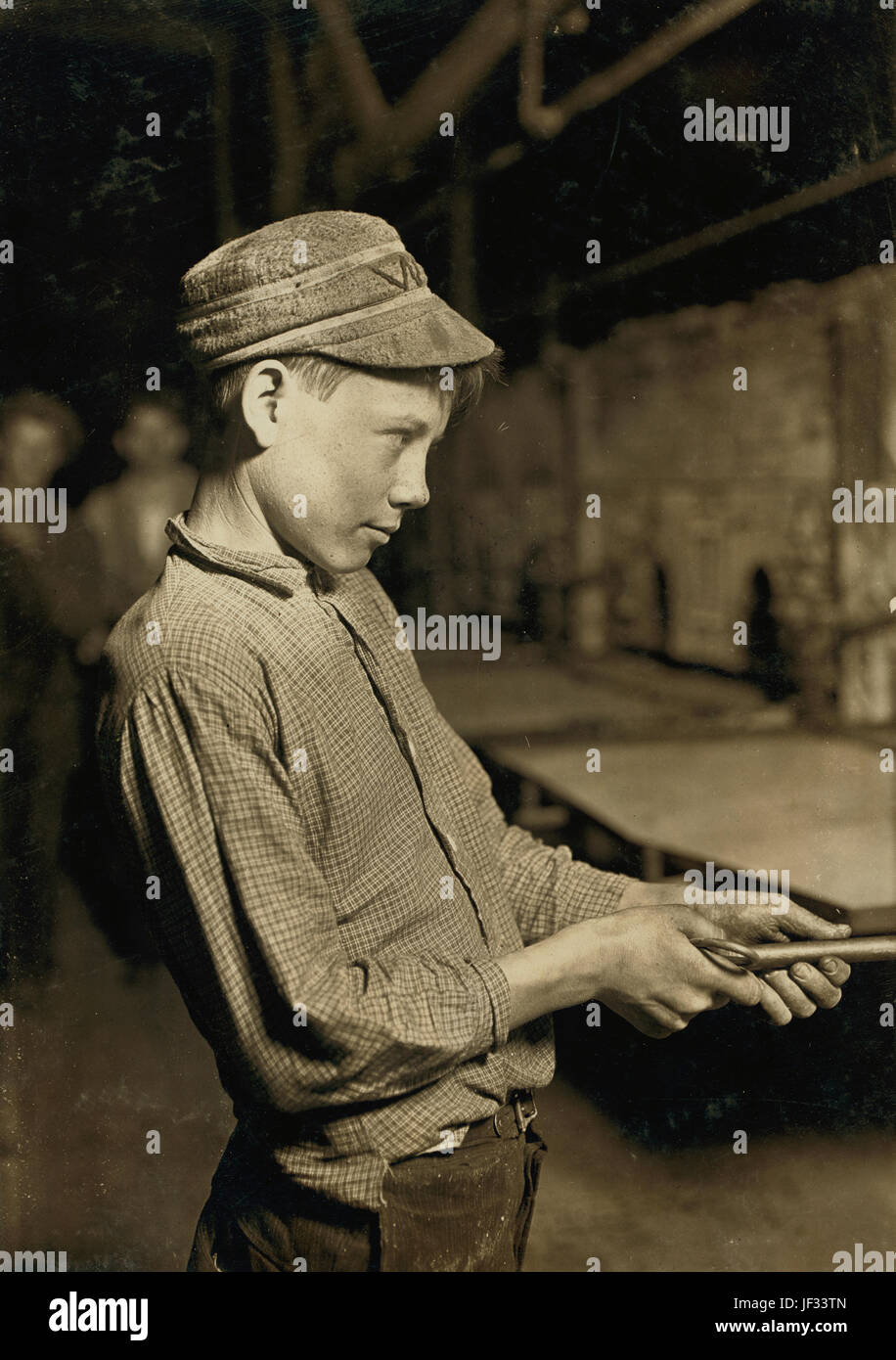 Title: Carrying-in Boy at the Lehr, (15 years old) Glass Works, Grafton, W. Va. Has worked for several years. Works - Stock Image