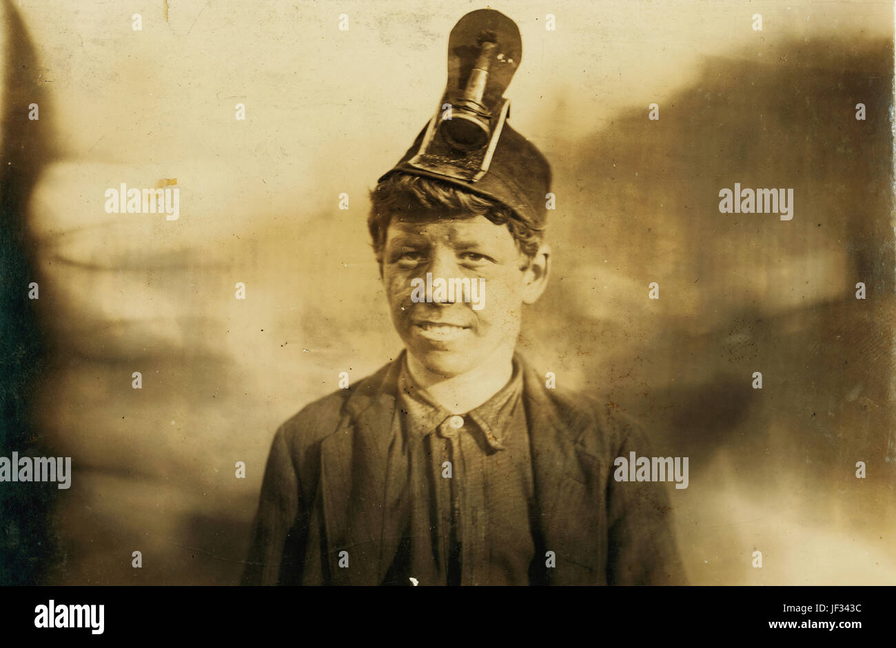 Title: National Child Labor Committee. No. 191. Frank, a Miner Boy, going home. About 14 years old: has worked in - Stock Image