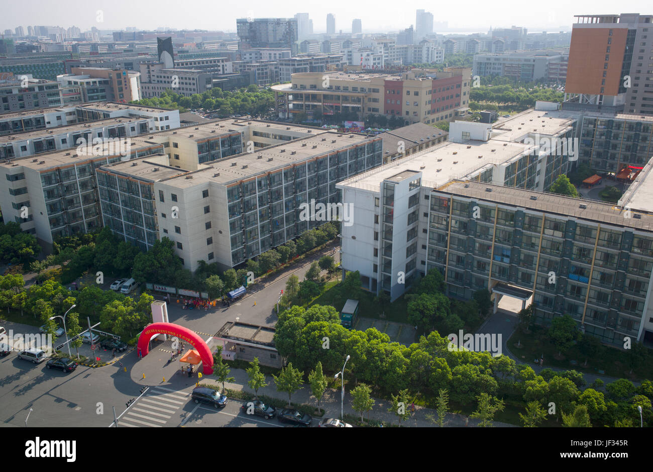 View over student dormitory blocks with inflatable arch during student registration, Dushu Lake Higher Education - Stock Image