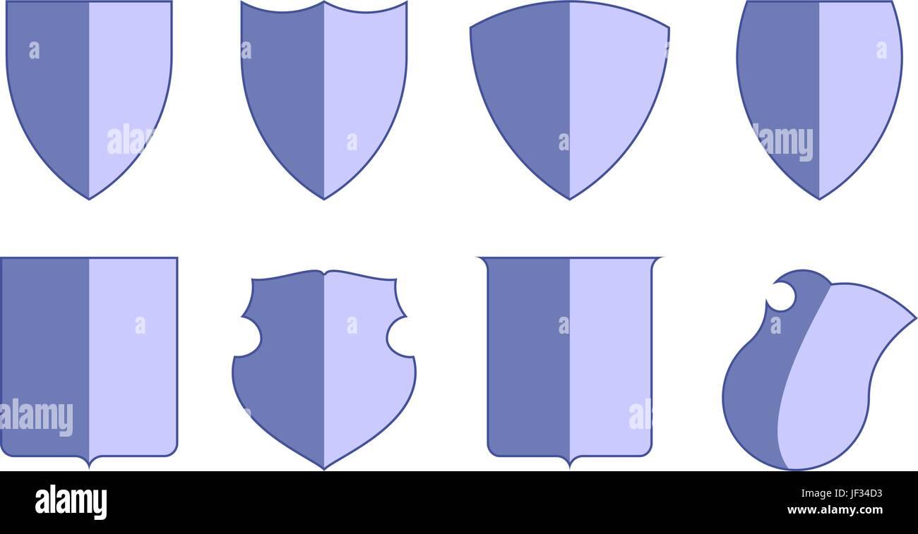 Heraldic escutcheons for coat of arms set, shield templates ...