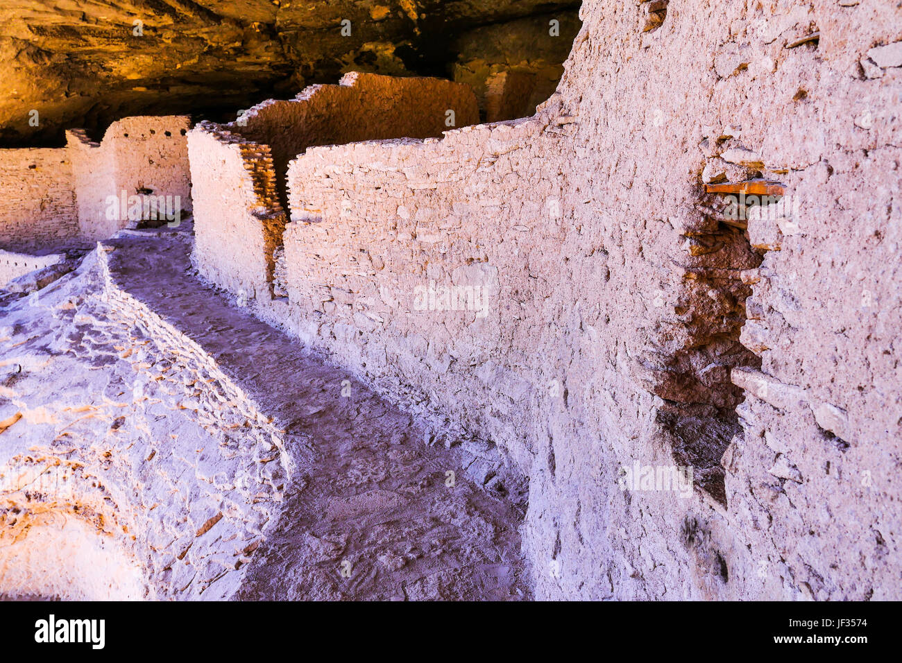 Cliff houses at the Gila Cliff Dwellings National Monument, near Silver City, New Mexico. Stock Photo