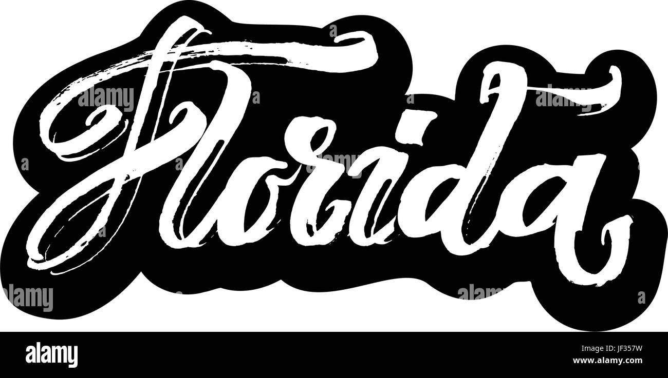 Florida. Sticker. Modern Calligraphy Hand Lettering for Serigraphy Print - Stock Vector