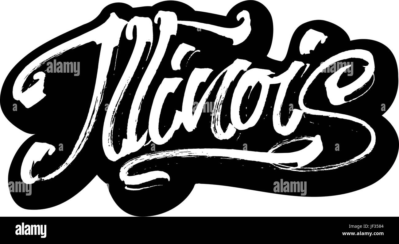 Illinois. Sticker. Modern Calligraphy Hand Lettering for Serigraphy Print - Stock Vector