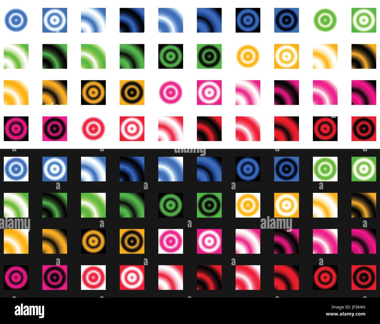 Collection of gradient templates over white and black. Color palette ...