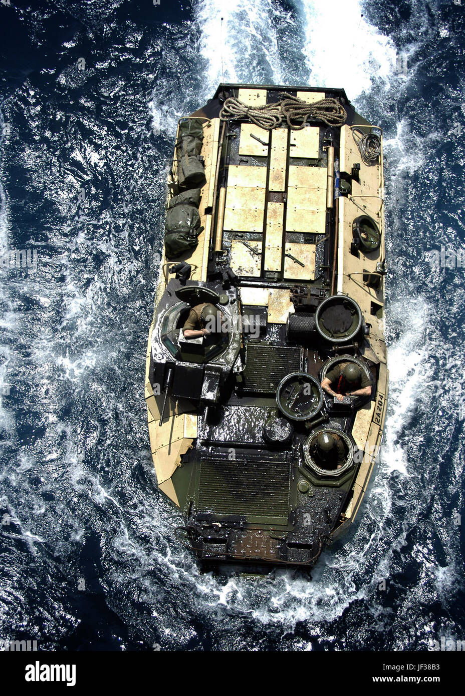 050723-N-5313A-118  	A Marine Amphibious Assault Vehicle maneuvers while preparing to enter the well deck aboard Stock Photo