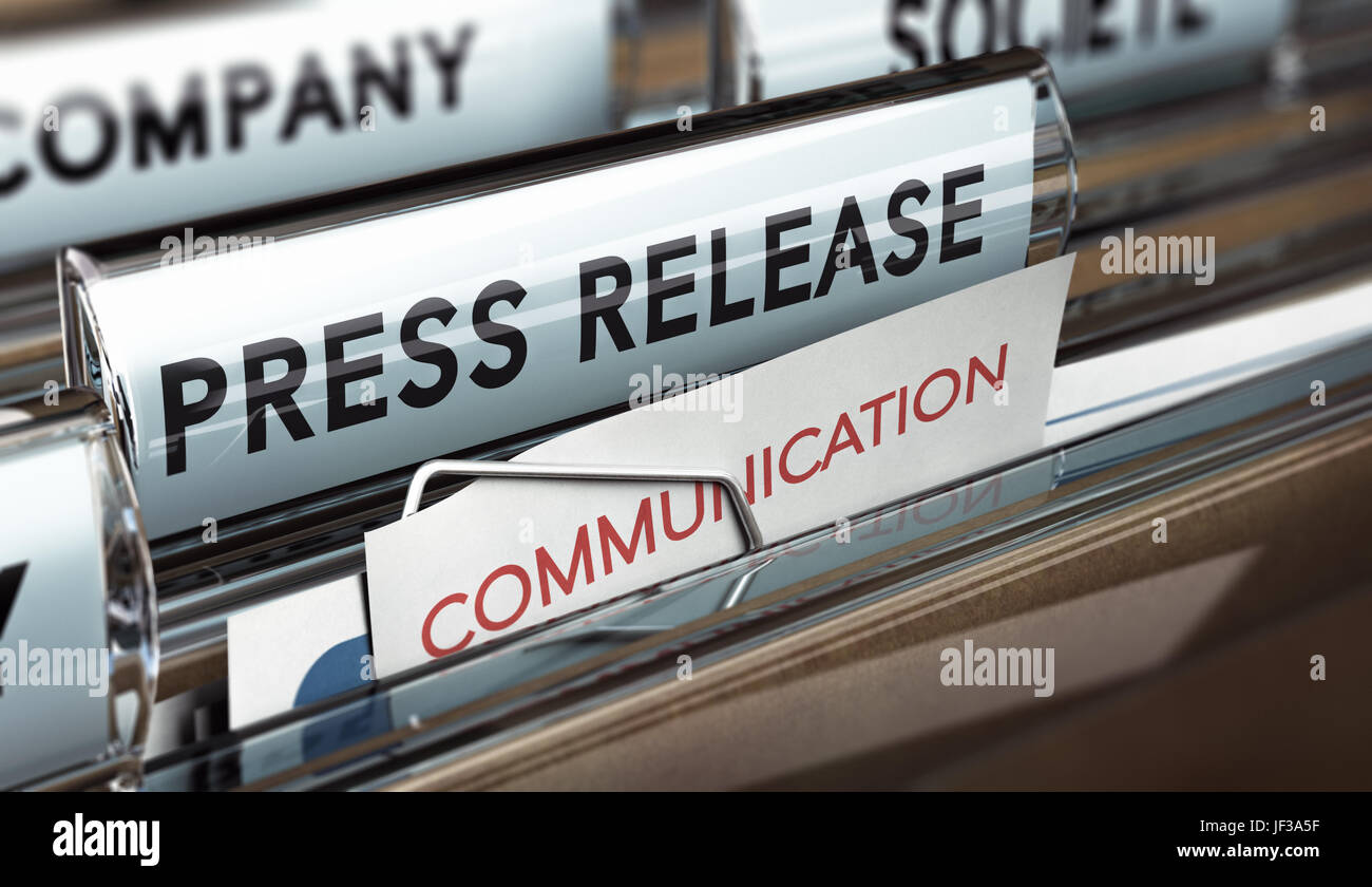 3D illustration of a press release file. Concept of business communication. Stock Photo