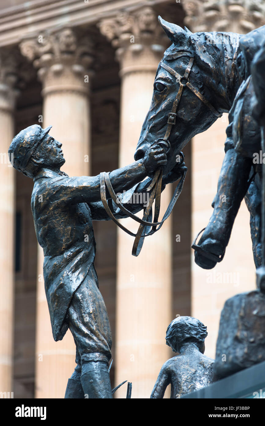 Close up detail from Petrie Tableau, sculpture, King George Square, Brisbane. - Stock Image