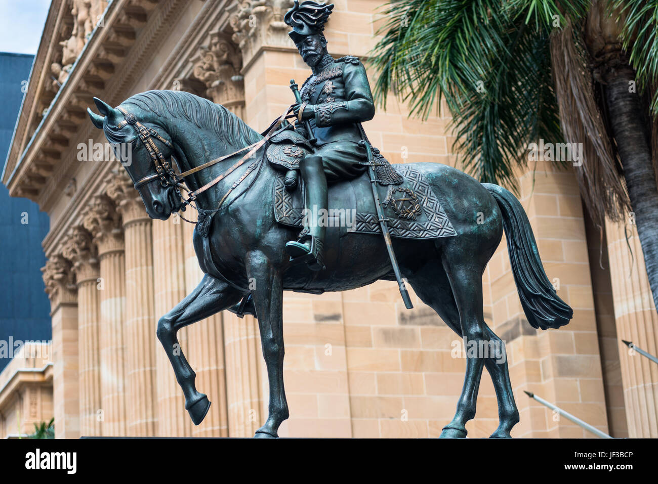 Statue of King George V in front of City Hall, King George Square, Brisbane, Australia. Stock Photo