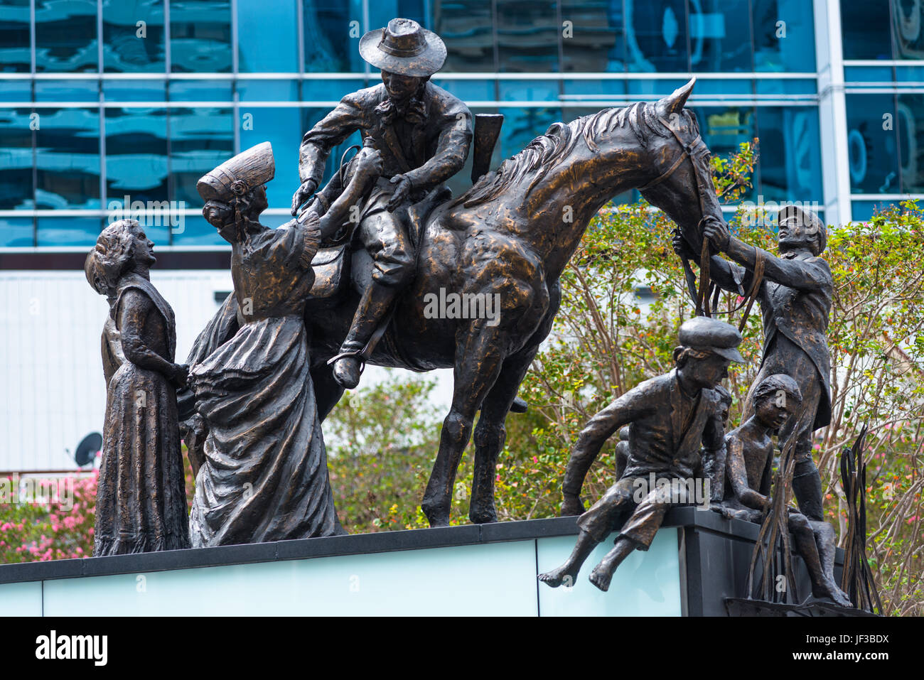 The Petrie Tableau, sculpture group created in 1988 to acknowledge pioneer families of Brisbane, in front of City - Stock Image