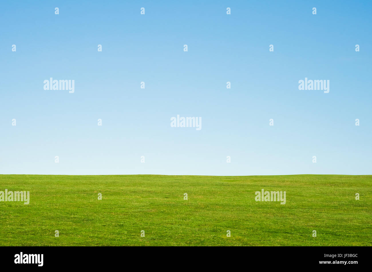 Green grass and blue sky landscape background, providing copy space in the sky.  Horizontal orientation. - Stock Image