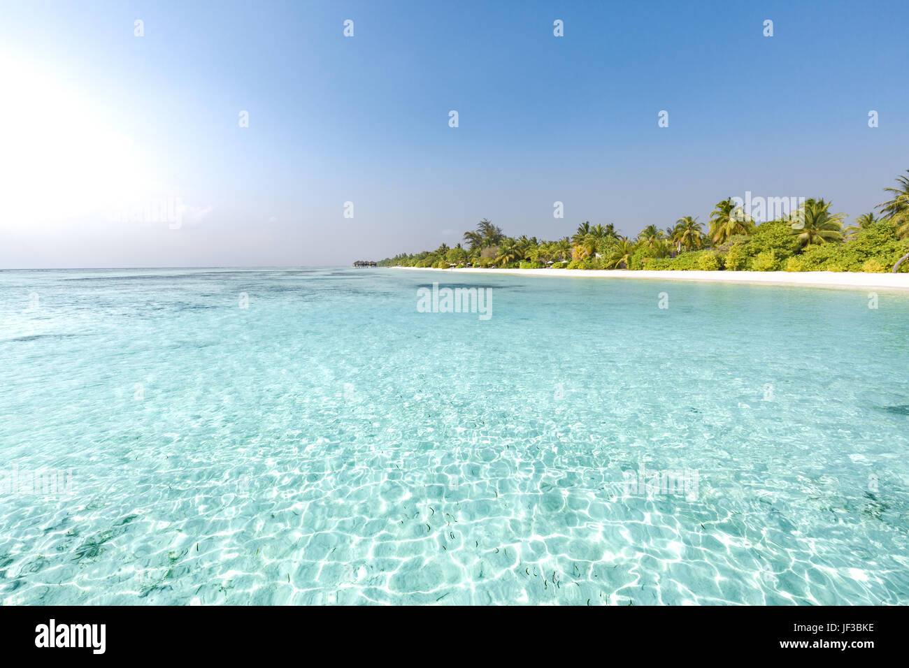 Summer vacation and holiday concept. Beach scene and tranquil tropical landscape - Stock Image