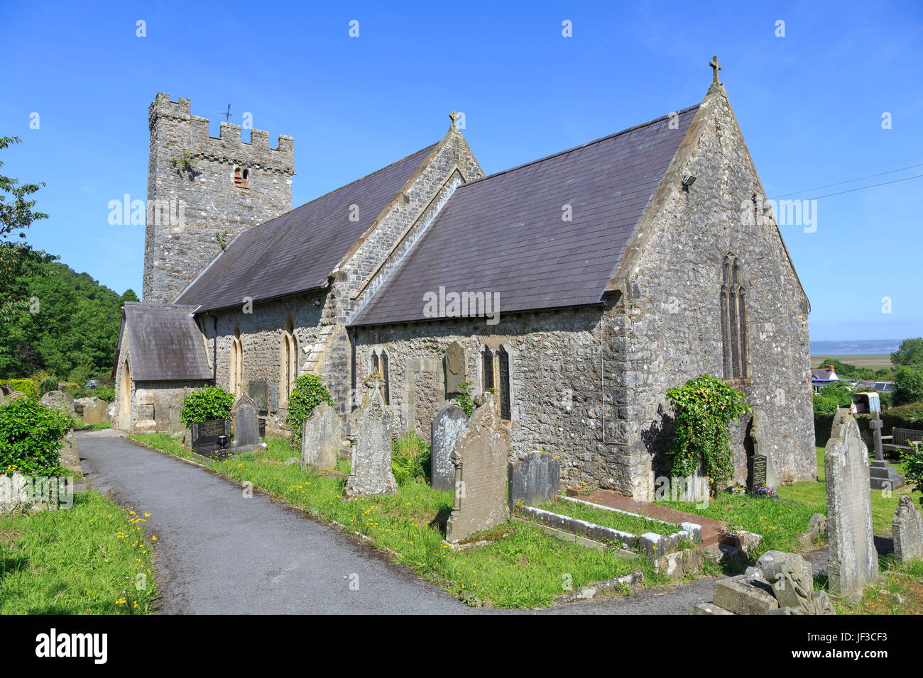 St Rhidian and St Illtyd's Church, Llanrhidian, Gower Peninsula, Glamorgan, South Wales, UK - Stock Image