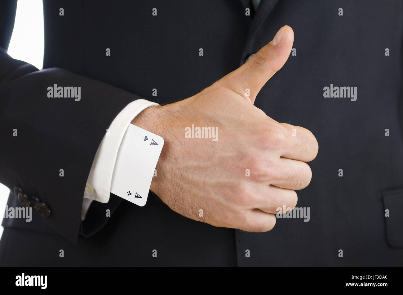 thumbs up for youngest hand - Stock Image