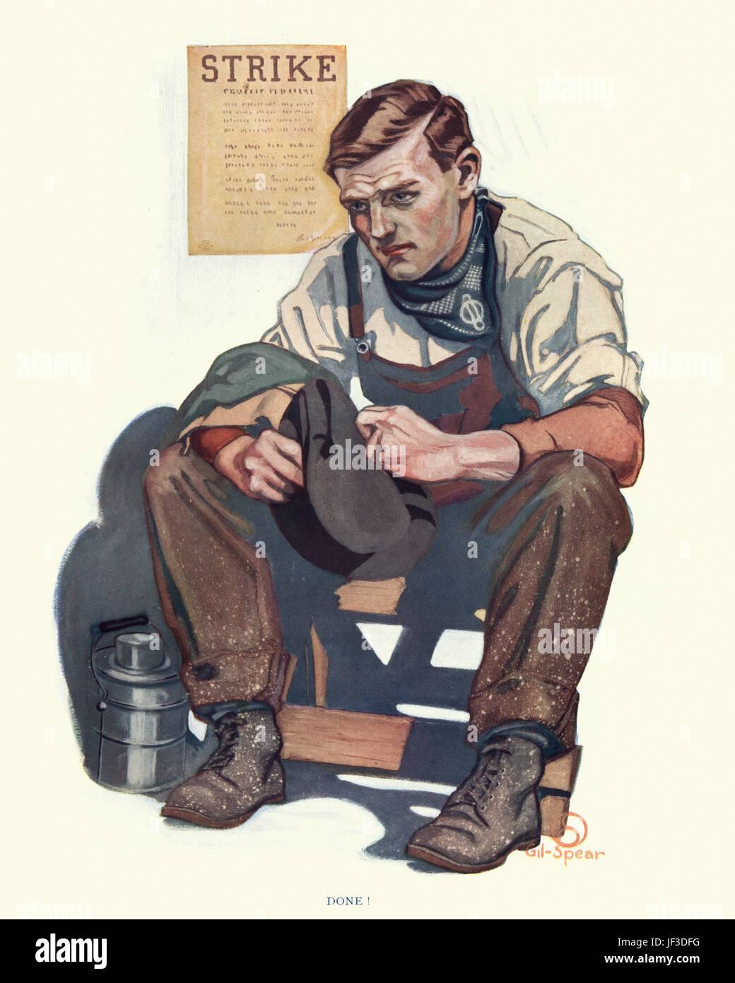 Worker on Strike, c. 1913 - Stock Image