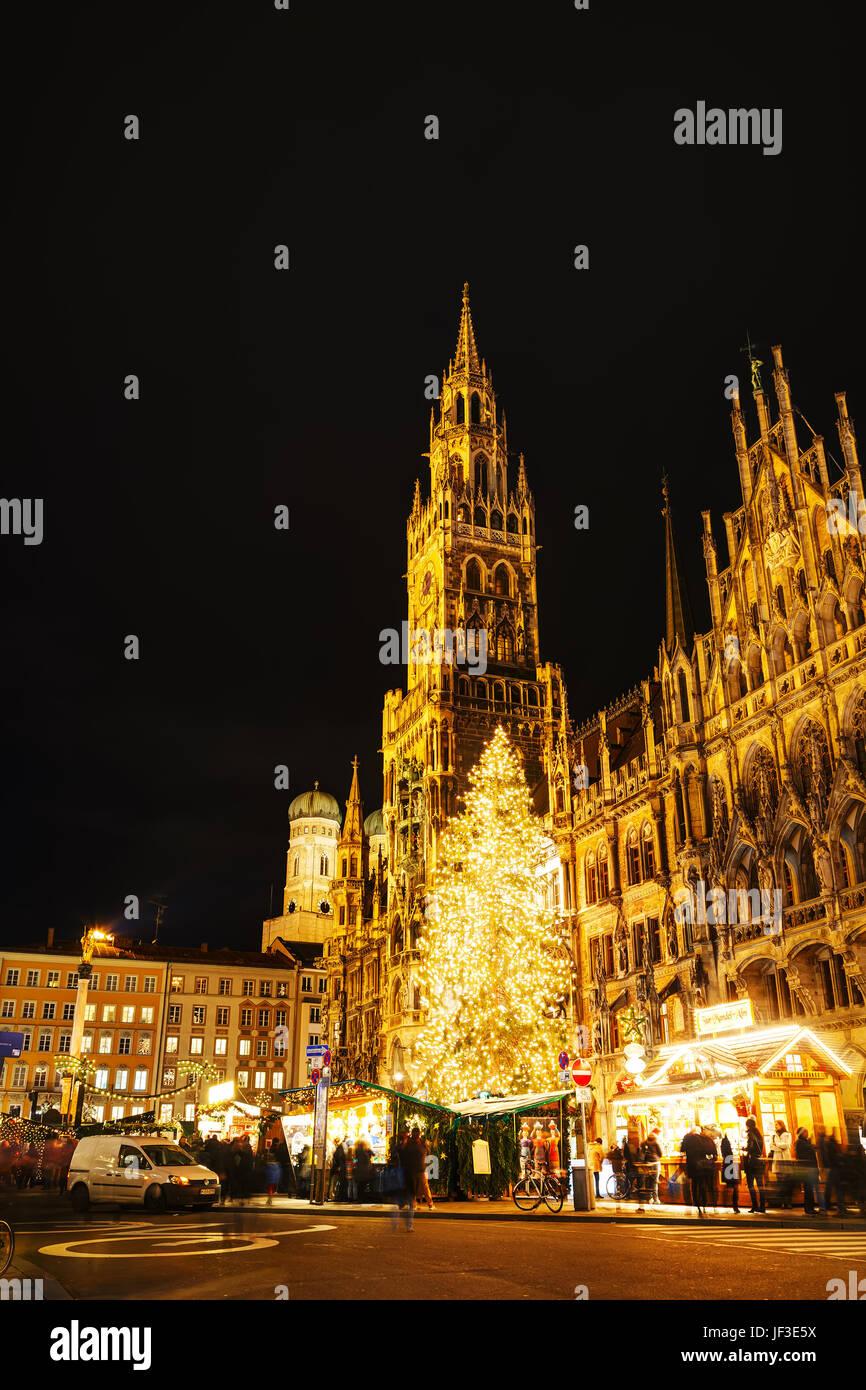 Overview of Marienplatz in Munich Stock Photo