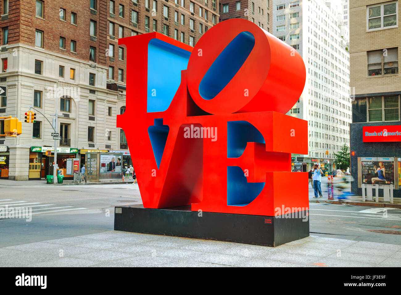Love sculpture at 55th street in New York - Stock Image