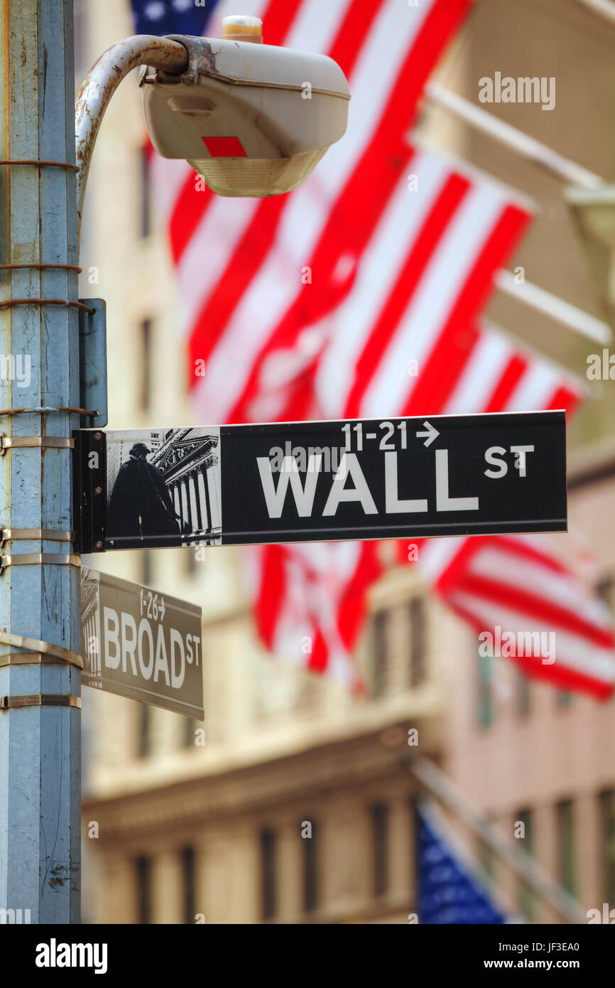 Wall street sign in New York City - Stock Image