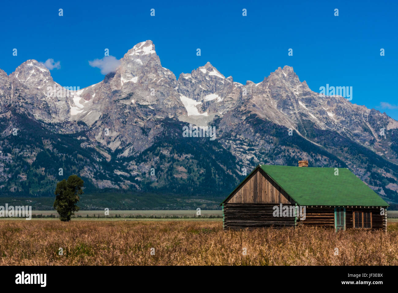 Abandoned farm building on 'Mormon Row'  wtih the Grand Tetons Mountain Range in the background, located - Stock Image