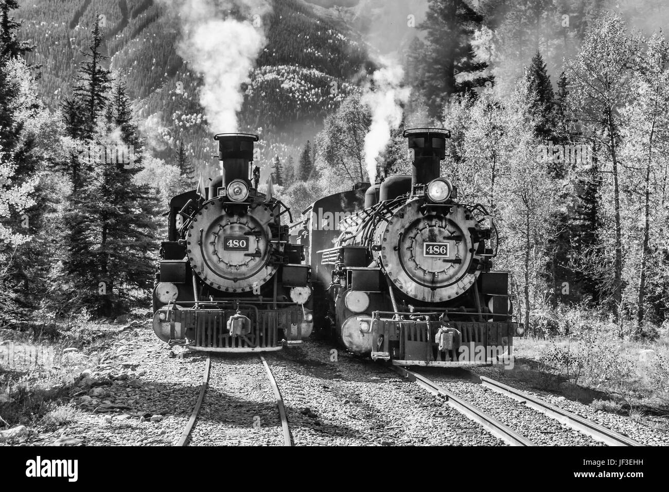 Durango and Silverton Narrow Gauge Railroad 1925 2-8-2 Mikado type Baldwin Steam locomotive #480 with historic mixed - Stock Image