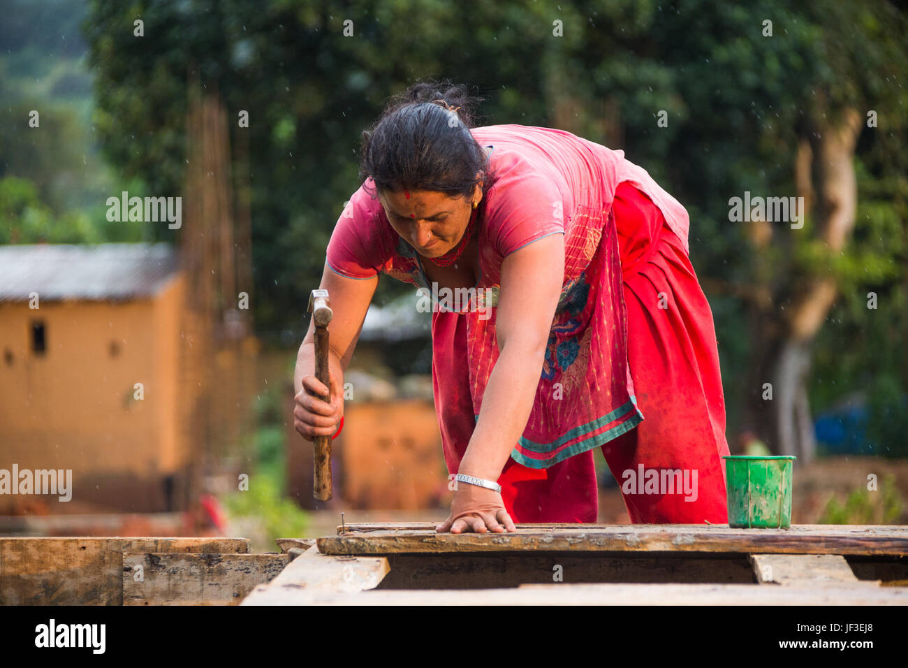 Woman builder, Nuwakot district of Nepal Stock Photo