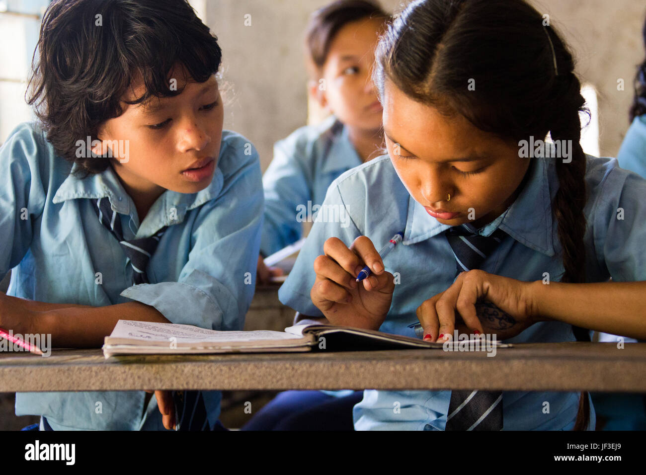 Students in class in Tanahu District, rural Nepal - Stock Image
