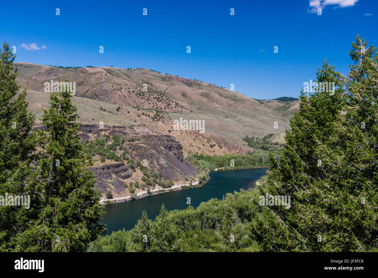 Snake River overlook in southeastern Idaho. The Snake River plays a major role in Idaho farming, because of the - Stock Image