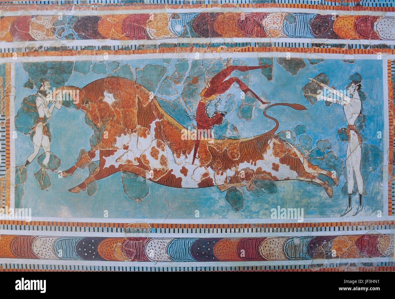 Bull-leaping fresco from Palace of Knossos (Knosos), Heraklion (Irakleio), Irakleio Region, Crete (Kriti), Greece - Stock Image